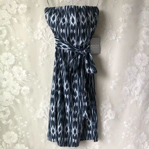 Athleta Ikat Navy Blue White Strapless Dress NWT